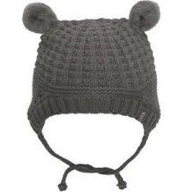 Calikids Calikids - Knit Hat w Pom Ears & Ties - Charcoal