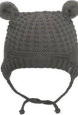 Calikids Calikids - Knit Hat w Pom Ears & Ties - Charcoal