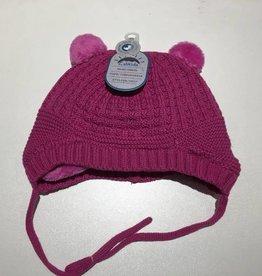 Calikids Calikids - Knit Hat w Pom Ears & Ties - Fuschia