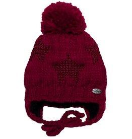Calikids Calikids - Knit Hat w Glitter Stars & Ties - Cerise