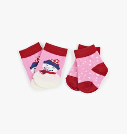 Hatley Little Blue House - Infant Socks 2-Pack Pink Cheerful Snowman