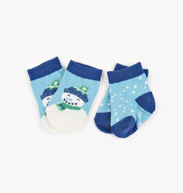 Hatley Little Blue House - Infant Socks 2-Pack Blue Cheerful Snowman