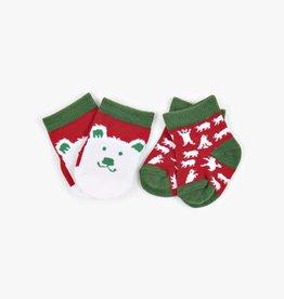 Hatley Little Blue House - Infant Socks 2-Pack Beary Xmas