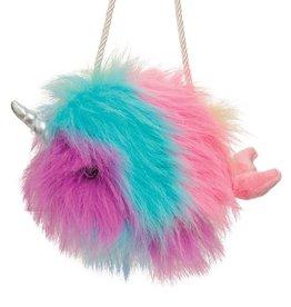 Douglas Douglas - Rainbow Narwhal Fur Fuzzle Pom Crossbody Purse