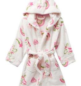 Petit Lem Petit Lem - White/Pink Robe w/ Unicorns, Diamonds & Rainbows