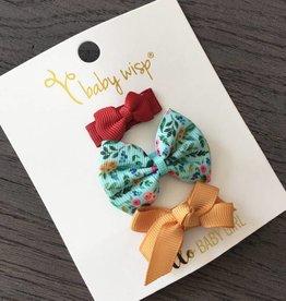 Babywisp Babywisp - 3 Mixed Snap Clip Floral Set - Aqua