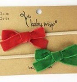 Babywisp Babywisp - Headband 2 Pack Velvet Bows - Red/Emerald Green