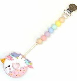 LouLou Lollipop loulou LOLLIPOP - Single Silicone Teether Set - Unicorn Donut