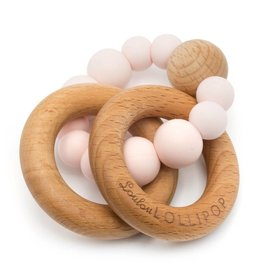 LouLou Lollipop loulou LOLLIPOP - Pink Bubble Wood & Silicone Teether