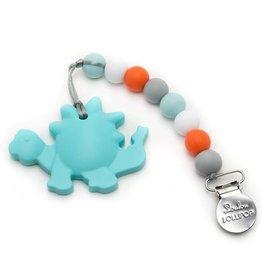 LouLou Lollipop loulou LOLLIPOP - Single Silicone Teether Set - Dinosaur Aqua w Orange