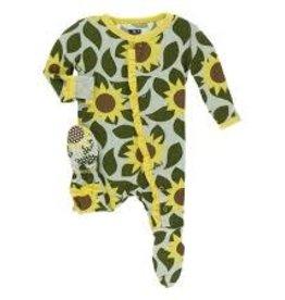 Kickee Pants Kickee Pants - Ruffle Footie w Snaps Aloe Sunflower