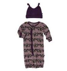 Kickee Pants Kickee Pants - Ruffle Gown w Hat Raisin Grape Vines