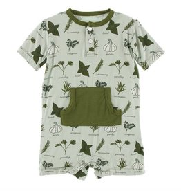 Kickee Pants Kickee Pants - Kangaroo Romper w Pocket - Aloe Herbs