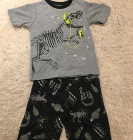 Petit Lem Petit Lem - Heather Grey Rockin' Dinosaur 2 pc short PJs