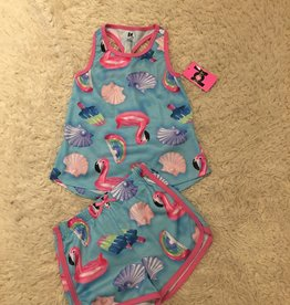 Petit Lem Petit Lem Tween - Turquoise Flamingo Tank & Short PJ set