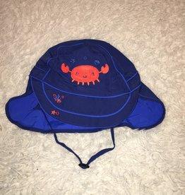Calikids Calikids - Quick Dry Flap Hat Navy w Crab Applique