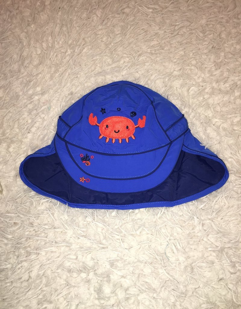Calikids Calikids - Quick Dry Flap Hat Royal w Crab Applique
