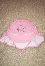 Calikids Calikids - Quick Dry Flap Hat Light Pink w Starfish Embroidery