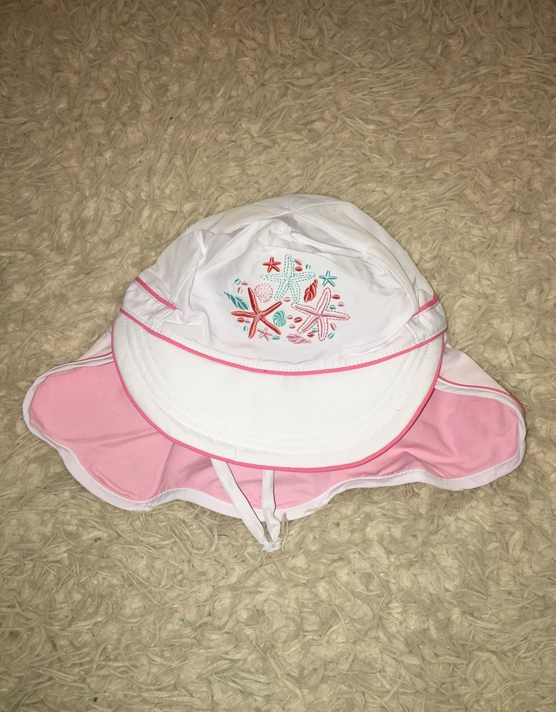Calikids Calikids - Quick Dry Flap Hat White w Starfish Embroidery