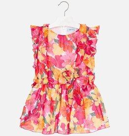 Mayoral Mayoral - Coral Floral Print Dress