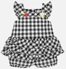 Mayoral Mayoral - Black/White Check Embroidered Romper