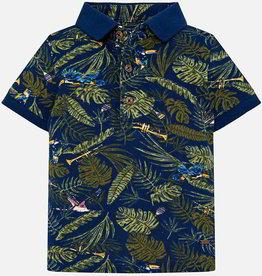 Mayoral Mayoral - Blue Short Sleeve Jungle Themed Polo