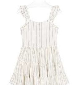 Mayoral Mayoral - Cream Knit Dress w Gold Stripes