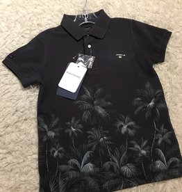Nukutavake Mayoral - Charcoal Short Sleeve Palm Tree Polo