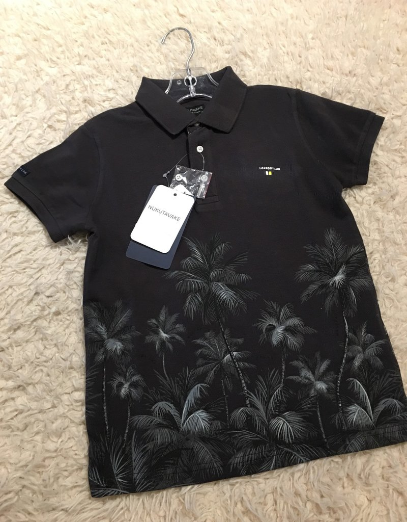 Nukutavake Mayoral - Charcoal Short Sleeve Palm Tree Polo