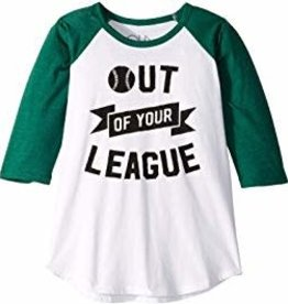 Chaser - Out of Your League White & Forest Raglan Tee