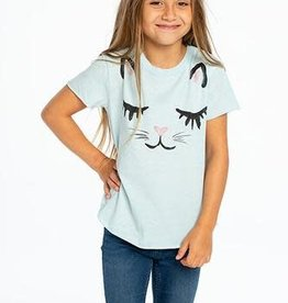 Chaser Chaser - Crystal Blue Vintage Cat Jersey S/S Crew Neck Tee