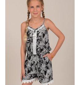 Mini Molly Mini Molly - Black Romper w White Floral Pattern
