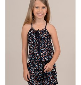 Mini Molly Mini Molly - Navy Floral Print Romper w Front Bow