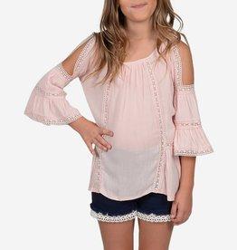 Mini Molly Mini Molly - Pink Tunic w Cold Shoulder