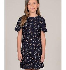 Mini Molly Mini Molly - High Neck Navy Floral Dress