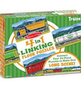 Melissa & Doug M&D - 4 in 1 Linking Floor Puzzle Trains