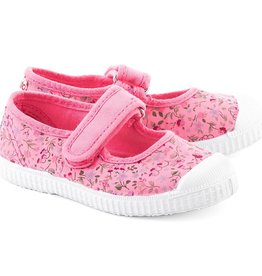 Cienta Cienta - Pink Floral Sandal w Velcro Strap