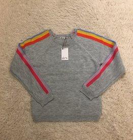 Dex Dex - Light Grey Heather Sweater w/ Rainbow Stripes