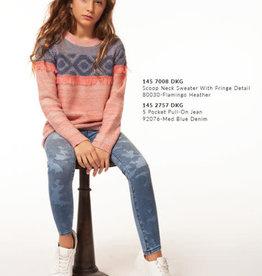 Dex Dex - Flamingo Heather Sweater w/ Fringe Detail