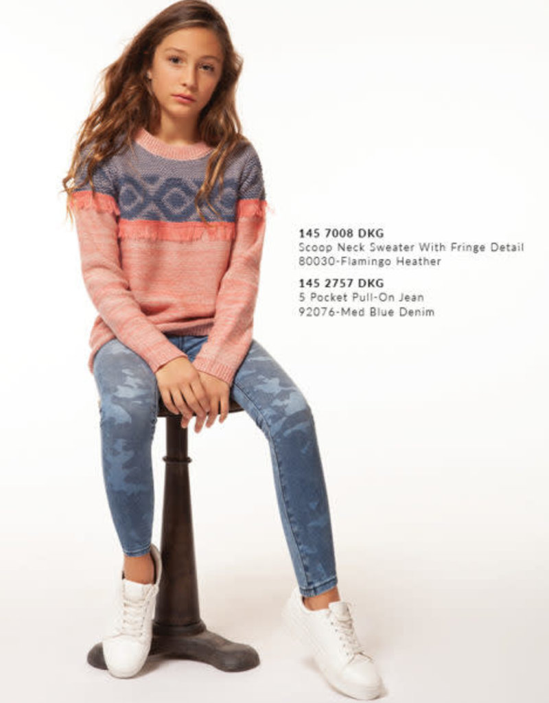 Dex Dex - Flamingo Heather Sweater w/ Fringe Detail