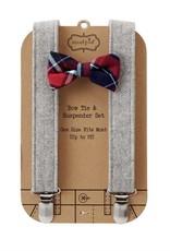 mudpie Grey Tweed Suspender & Bowtie Set