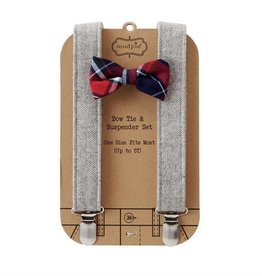 mudpie Grey Tweed Suspender & Bowtie Set