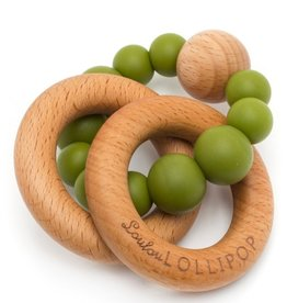 LouLou Lollipop loulou LOLLIPOP - Olive Bubble Wood & Silicone Teether