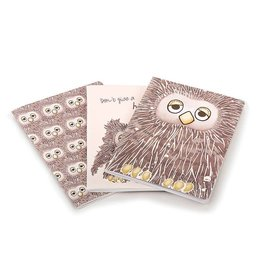 "JellyCat Jellycat - ""Don't Give A Hoot"" Set of 3 Lined Notebooks"