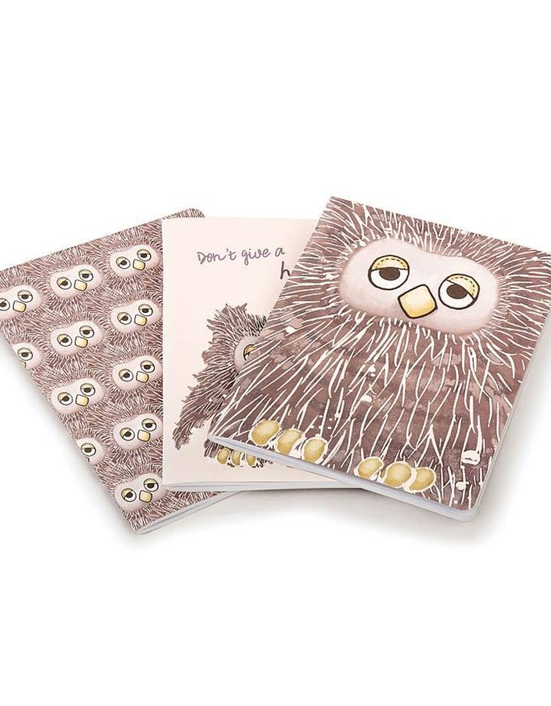"""JellyCat Jellycat - """"Don't Give A Hoot"""" Set of 3 Lined Notebooks"""