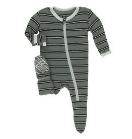 Kickee Pants Kickee Pants- Succulent Kenya Stripe Print Footie w/ Zipper
