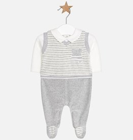 Mayoral Mayoral - Grey Striped Velour Romper