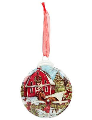 Red Barn w/ Horse Small Disc Ornament