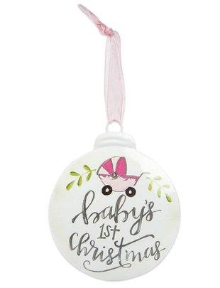 Baby Girls 1st Christmas Disk Ornament