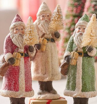 Vintage Santa w/ Tree & Package (3 Colors)